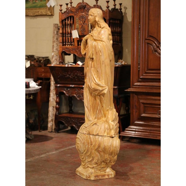 Early 19th Century French Carved Pine Religious Figure on Carved Cloud Form Base For Sale - Image 9 of 13