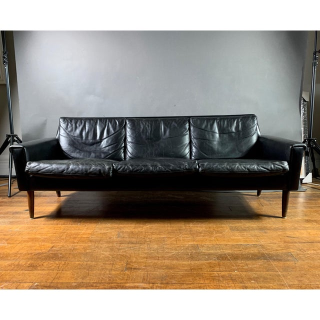 Early 1970s Danish Flared-Arm 3-Seat Sofa For Sale - Image 9 of 9