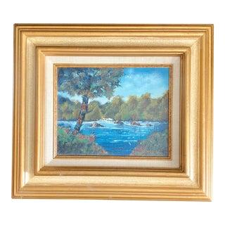 Vintage Mid-Century Landscape Signed & Framed Oil Painting For Sale