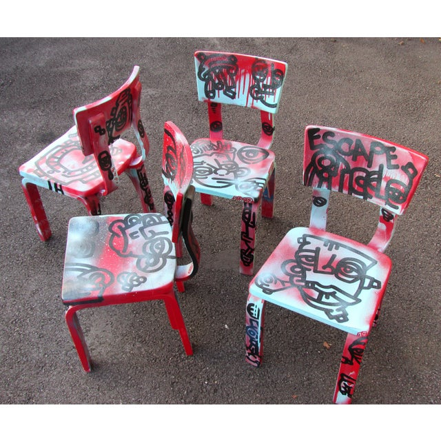 Graffiti Painted Children's Thonet Chairs - Set of 4 - Image 4 of 11