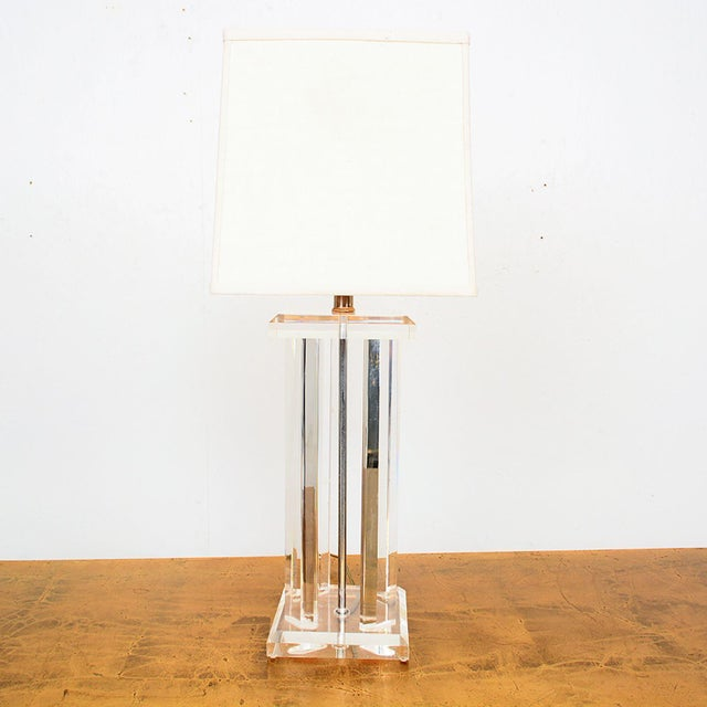 Plastic Mid Century Modern Lucite Table Lamp Style of Charles Hollis Jones For Sale - Image 7 of 12