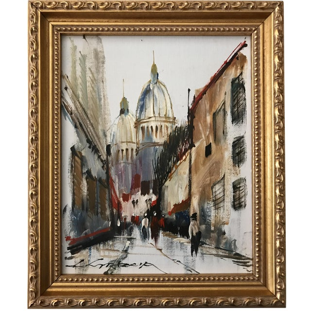 Vintage Modernist French Street Scene Oil Painting For Sale