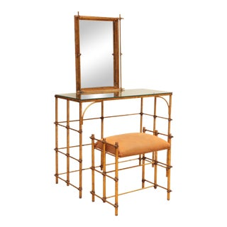 Gilded Rope-Tied Vanity With Mirror & Stool - 2 Pieces For Sale