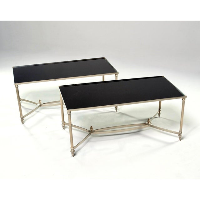 French Maison Baguès Style Black Glass Top Cocktail Tables - Pair For Sale - Image 9 of 11