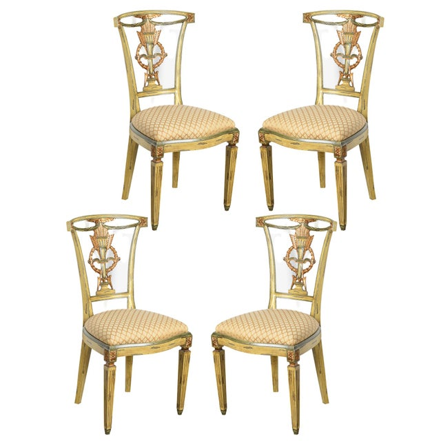 Italian Louis XVI Style Painted & Gilt Chairs - Set of 4 For Sale - Image 13 of 13