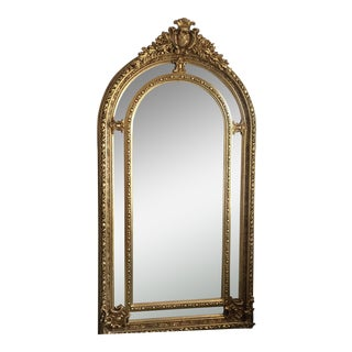 Gilded Scrolling Details Cathedral Beveled Mirror** For Sale