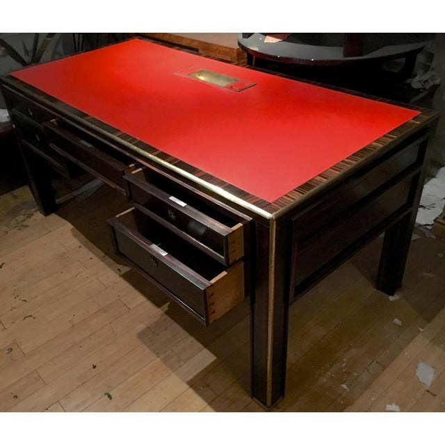 Jacques Adnet Rarest 40s Documented Makassar Desk For Sale - Image 6 of 7
