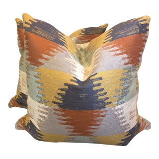 "Pumpkin Ikat 22"" Pillows-A Par For Sale"