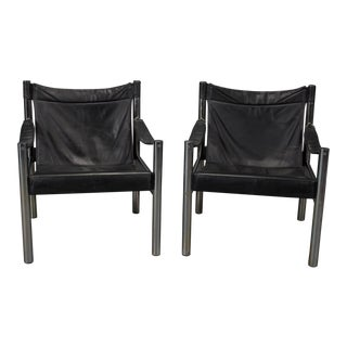 Black Leather and Chrome Bauhaus Style Safari Chairs- A Pair For Sale