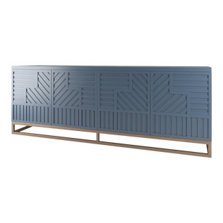 Stria Credenza - Brushed Brass Base, Newburyport Blue For Sale