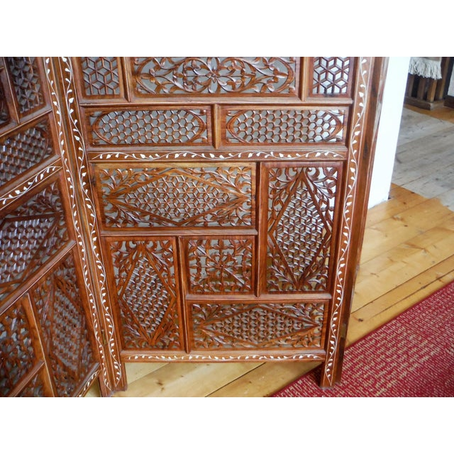 Carved & Inlayed Rosewood Screen For Sale In Salt Lake City - Image 6 of 11