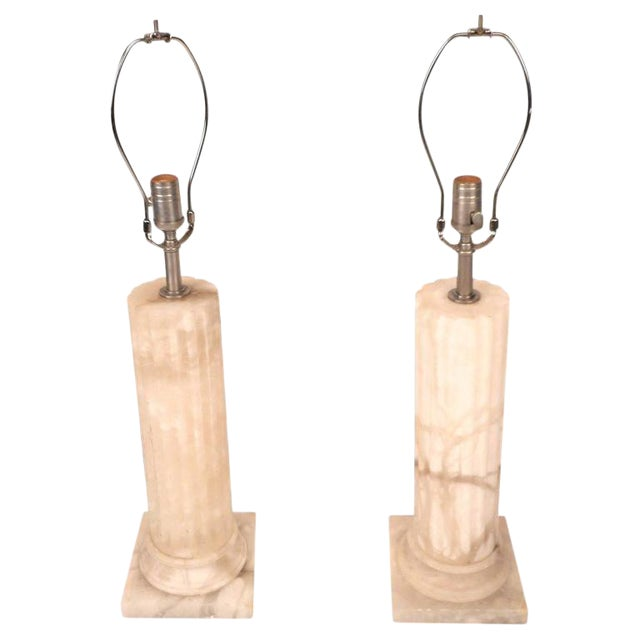 Mid-Century Modern Marble Pedestal Lamps - a Pair For Sale
