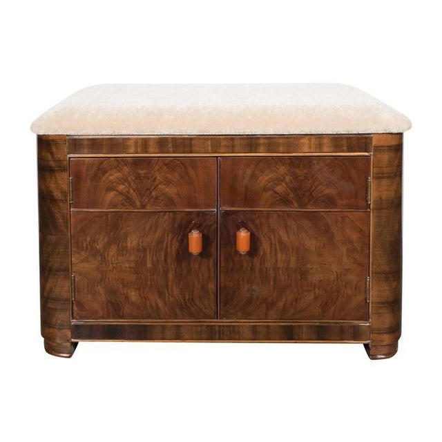 Art Deco Machine Age Storage Bench in Bookmatched Walnut and Camel Mohair For Sale - Image 10 of 10
