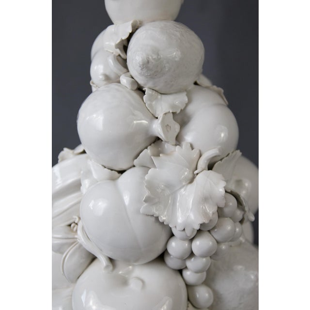 Large Italian White Creamware Fruit Topiary Centerpiece For Sale In Houston - Image 6 of 13