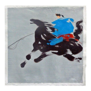 Oil Paint Canvas Art Portrait Riding Horse Wall Decor