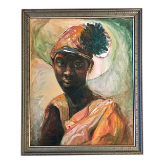 Vintage African Attired Young Girl Oil Portrait