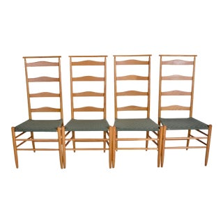 Mid Century Modern Gio Ponti Style Nichols and Stone Maple Ladder Back Dining Chairs- Set of 4 For Sale