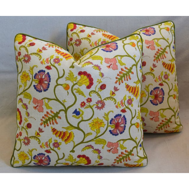 """Raoul Floral & Scalamadre Mohair Feather/Down Pillows 21"""" Square - Pair For Sale - Image 12 of 13"""
