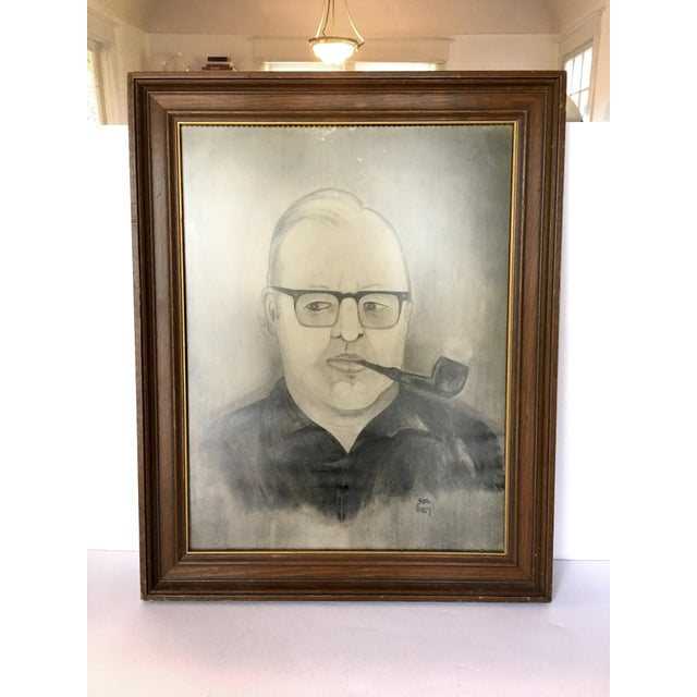"""Man With Pipe"" Mid Century Graphite Portrait - Image 2 of 5"