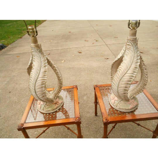 Palm Leaf Table Lamps - A Pair - Image 3 of 5