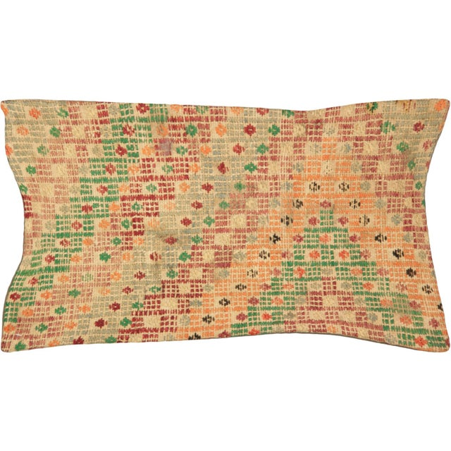 "Turkish Nalbandian - 1960s Turkish Jijim Pillow - 12"" X 23"" For Sale - Image 3 of 3"