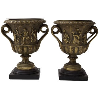 19th Century Grand Tour Bronze Urn Form Vases - a Pair For Sale