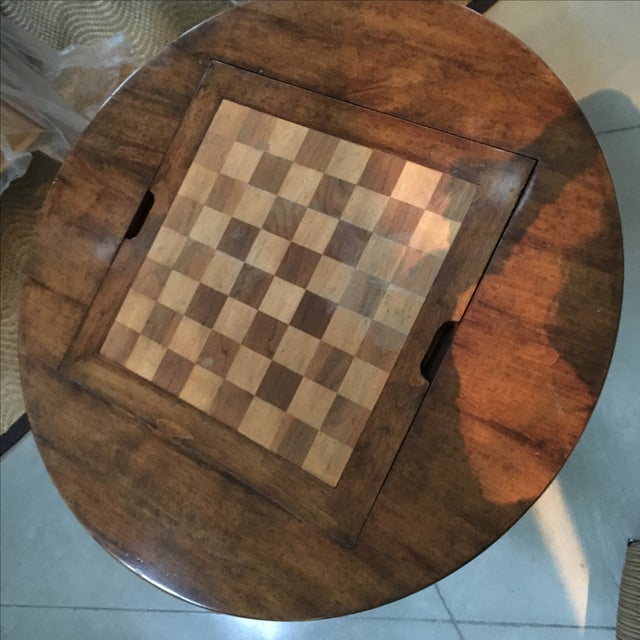 Bausman & Co. Round Custom Pedestal Game Table For Sale - Image 5 of 7