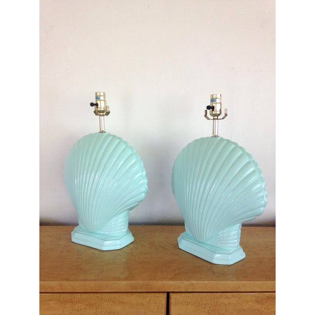 Light Aqua Clam Shell Table Lamps - a Pair For Sale In Seattle - Image 6 of 6