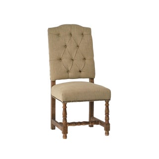 Tufted Linen Dining Chair For Sale