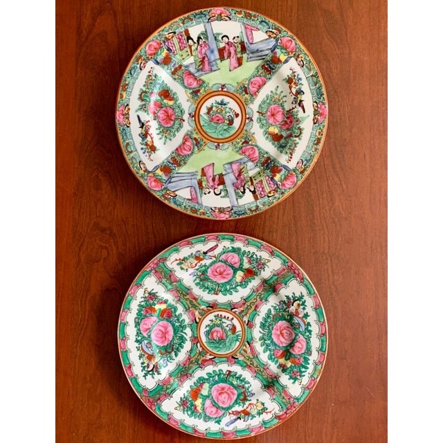 Two different Rose Medallion patterned Japanese porcelain plates hand decorated in Hong Kong with vibrant shades of pink...