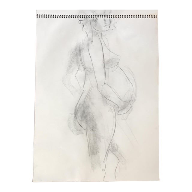 Standing Pregnant Nude Drawing - Image 1 of 4