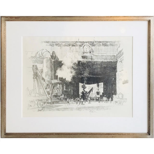 Framed Industrialist Drawing For Sale