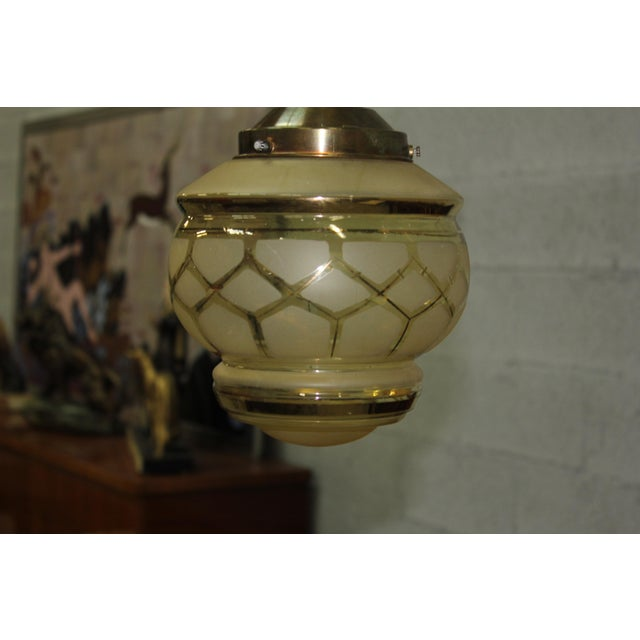 Circa 1940s French Art Deco One Light Globe Chandelier Lantern - Image 9 of 11