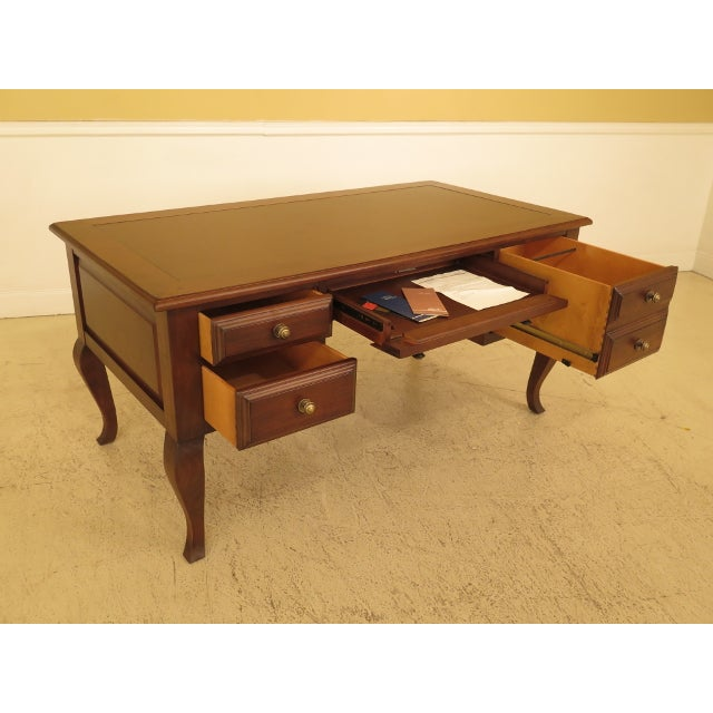1990s Sligh French Style Leather Top Cherry Executive Desk For Sale In Philadelphia - Image 6 of 13