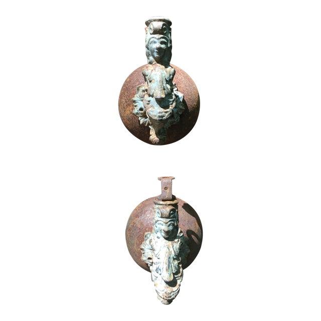 Antique Architectural Salvage Iron Figural Sconces - Pair - Image 1 of 9