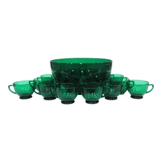 Vintage Anchor Hocking Forest Green Glass Punch Set With Bowl and 14 Cups - 15 Pieces For Sale