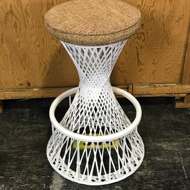 White Woven and Spun Fiberglass Bar Stools by Robert Woodard - A Pair For Sale - Image 8 of 9