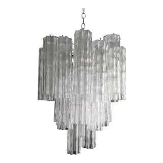 1960's Italian Murano Glass and Chrome Chandelier For Sale