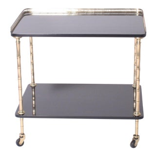 Mid Century Vintage Black Lacquer Drinks Cart With Brass Detailing For Sale
