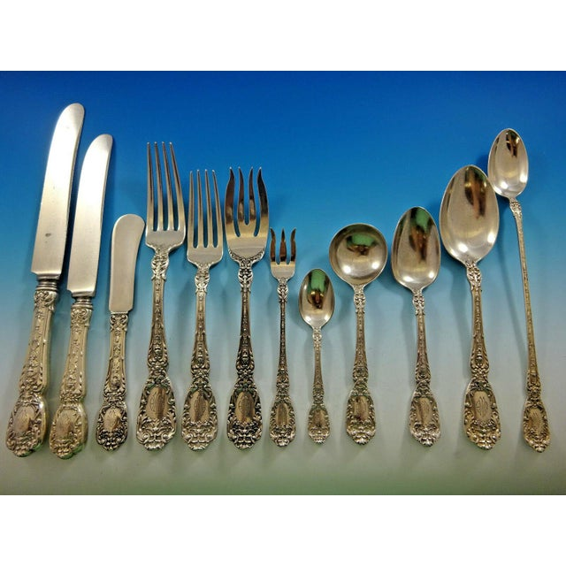 Early 20th Century Florentine by Gorham Sterling Silver Flatware Set 12 Service 195 Pcs Dinner For Sale - Image 5 of 13