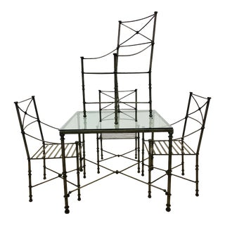 Vintage Diego Giacometti Style Neoclassical Iron Dining Table & Dining Chairs - Set of 5 For Sale