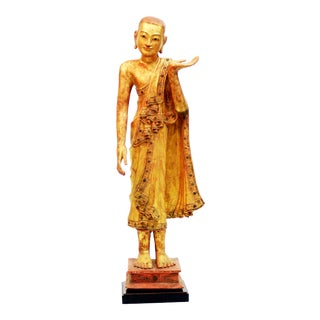 Burmese Gold Leaf Monk Sculpture For Sale