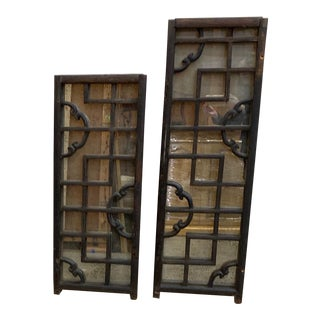 Antique Japanese Window Screens With Antiqued Mirror For Sale