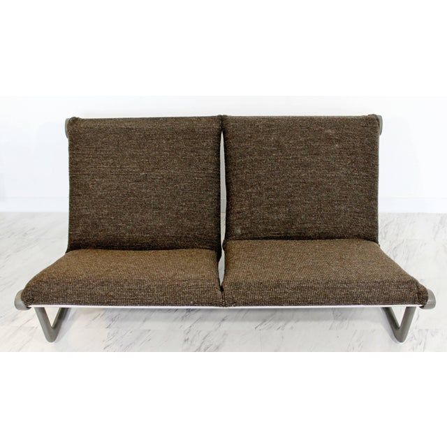 Gray Mid-Century Modern Hannah Morrison Knoll Two-Seat Sling Sofa & Ottoman - Set of 2 For Sale - Image 8 of 10