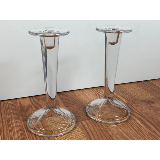 Minimalist Solid Clear Glass Candle Holders - A Pair For Sale In Buffalo - Image 6 of 7