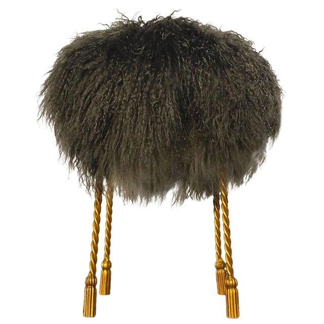 Hollywood Regency Mongolian Lamb & Gilded Metal Vanity Stool, 1970's For Sale
