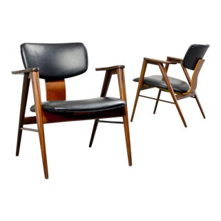 Excellent Pair of FT14 Arm Chairs Designed by Cees Braakman for Pastoe, 1950s For Sale