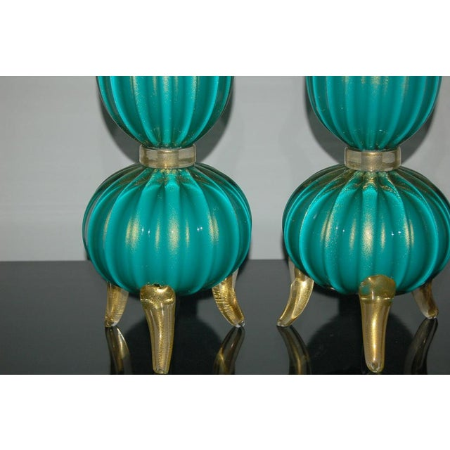 Murano Murano Glass Three Footed Table Lamps Aqua Gold For Sale - Image 4 of 10