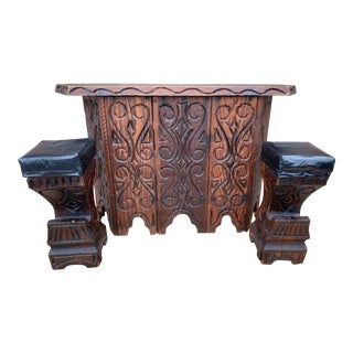 1960 Mid Century Modern's Witco Carved Cedar Polyenesian Tiki Bar with Stools - 3 Pieces For Sale
