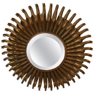 1970s Vintage Italian Gilt Metal Eyelash Mirror For Sale
